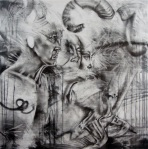 "'Ervin', 36""x36"", graphite on panel, 2011"