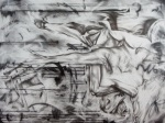 "'Lumberjack Renegades', 36""x48"", graphite on panel, 2011"