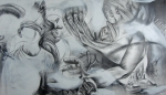 "'Pembine', 30""x52"", graphite on panel, 2011"